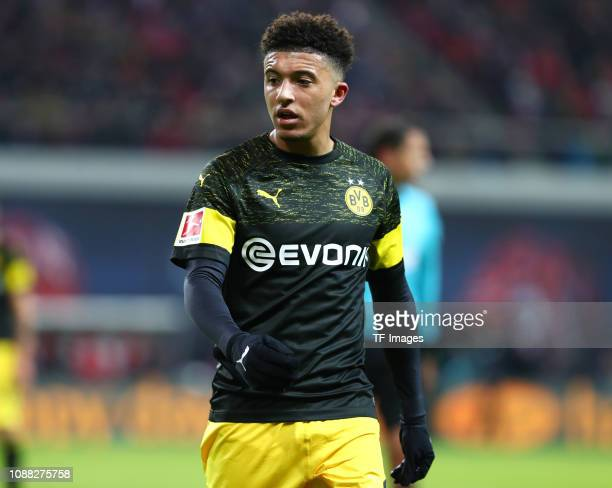 Jaden Sancho of Borussia Dortmund looks on during the Bundesliga match between RB Leipzig and Borussia Dortmund at Red Bull Arena on January 19 2019...