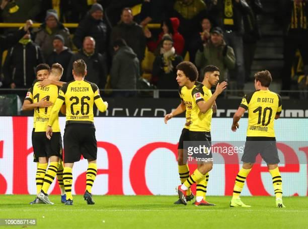 Jaden Sancho of Borussia Dortmund Marco Reus of Borussia Dortmundn Lukasz Piszczek of Borussia Dortmund Axel Witsel of Borussia Dortmund Achraf...