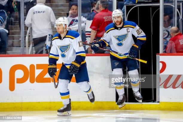 Jaden Schwartz and Alex Pietrangelo of the St Louis Blues hit the ice for the start of second period action against the Winnipeg Jets in Game Five of...