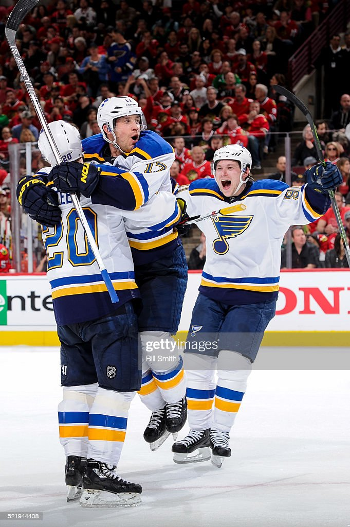 Jaden Schwartz #17 and Vladimir Tarasenko #91 of the St. Louis Blues react after Schwartz scored against the Chicago Blackhawks in the third period of Game Three of the Western Conference Quarterfinals during the 2016 NHL Stanley Cup Playoffs at the United Center on April 17, 2016 in Chicago, Illinois.