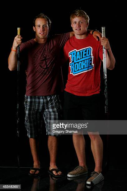 Jaden Schwartz of the St Louis Blues and Morgan Rielly of the Toronto Maple Leafs pose for an NHLPA The Players Collection portrait at The Westin...