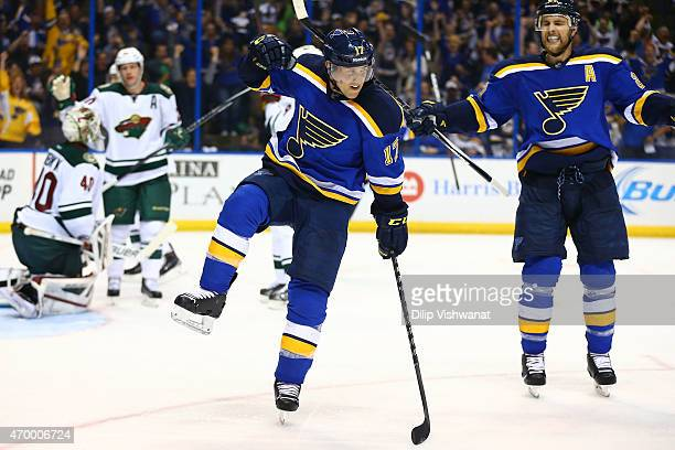 Jaden Schwartz of the St Louis Blues celebrates after scoring a goal against the Minnesota Wild during Game One of the Western Conference...