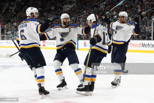 Jaden Schwartz of the St Louis Blues celebrates his goal with Joel Edmundson Alex Pietrangelo and Brayden Schenn in the first period of Game Two of...