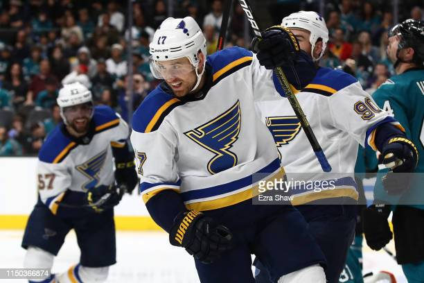 Jaden Schwartz of the St Louis Blues celebrates his second goal against the San Jose Sharks in Game Five of the Western Conference Final during the...