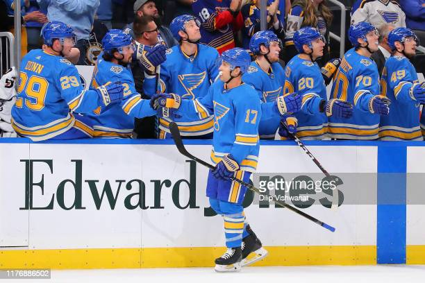 Jaden Schwartz of the St. Louis Blues celebrates scoring a goal against the Montreal Canadiens at Enterprise Center on October 19, 2019 in St Louis,...