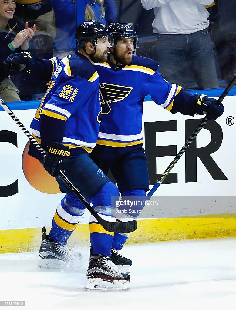 Jaden Schwartz #17 of the St. Louis Blues celebrates with Patrik Berglund #21 after scoring a first period goal against the San Jose Sharks in Game Five of the Western Conference Final during the 2016 NHL Stanley Cup Playoffs at Scottrade Center on May 23, 2016 in St Louis, Missouri.