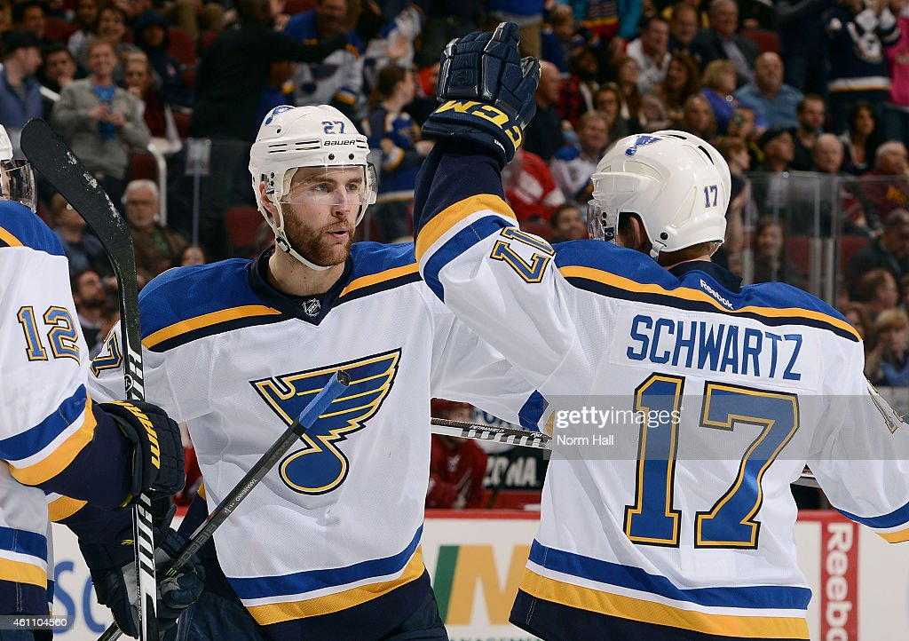 Jaden Schwartz #17 of the St Louis Blues celebrates with teammate Alex Pietrangelo #27 after his third period goal against the Arizona Coyotes at Gila River Arena on January 6, 2015 in Glendale, Arizona.