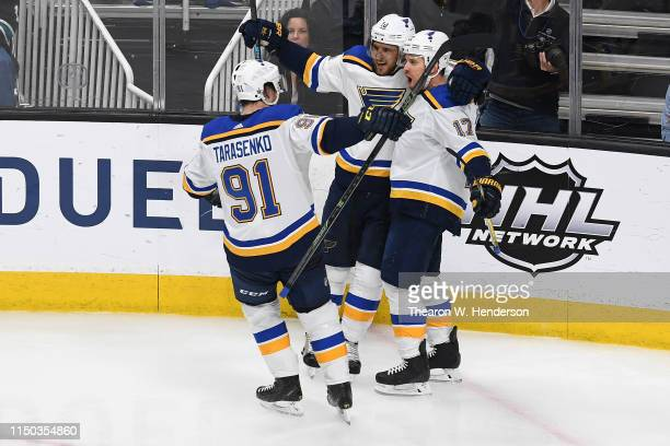 Jaden Schwartz of the St Louis Blues celebrates with Vladimir Tarasenko and Brayden Schenn after his second goal against the San Jose Sharks in Game...