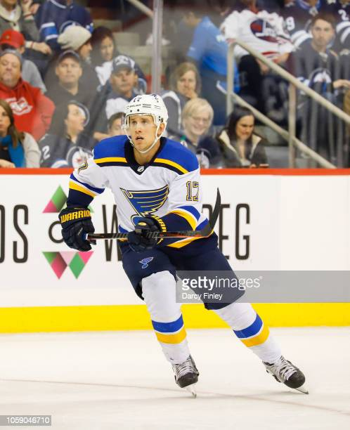 Jaden Schwartz of the St Louis Blues follows the play down the ice during second period action against the Winnipeg Jets at the Bell MTS Place on...