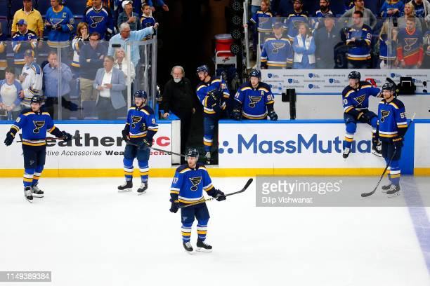 Jaden Schwartz of the St Louis Blues looks on with his teammates after being defeated by the San Jose Sharks in overtime after Game Three of the...