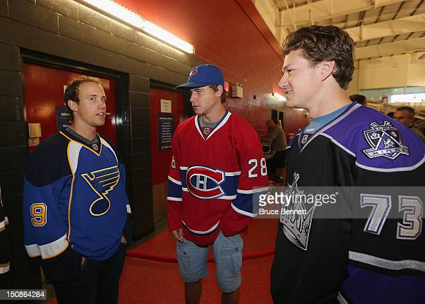 Jaden Schwartz of the St Louis Blues Nathan Beaulieu of the Montreal Canadiens and Tyler Toffoli of the Los Angeles Kings meet with the media at the...