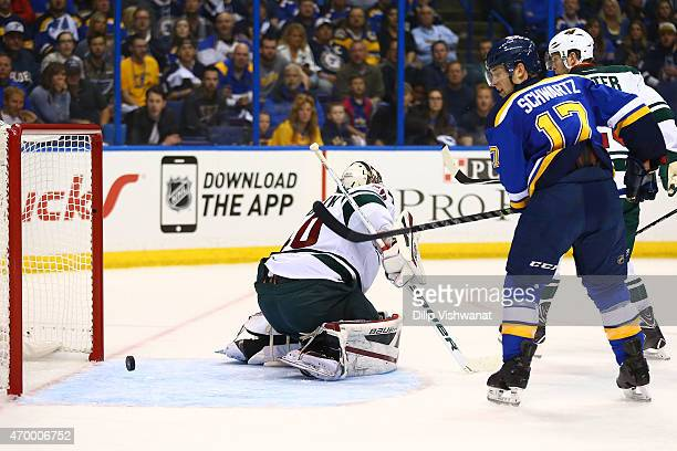 Jaden Schwartz of the St Louis Blues scores a goal against Devan Dubnyk of the Minnesota Wild during Game One of the Western Conference Quarterfinals...