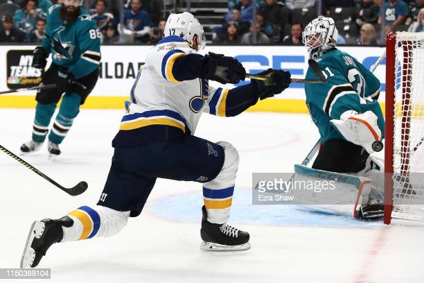 Jaden Schwartz of the St Louis Blues scores his third goal against the San Jose Sharks in Game Five of the Western Conference Final during the 2019...