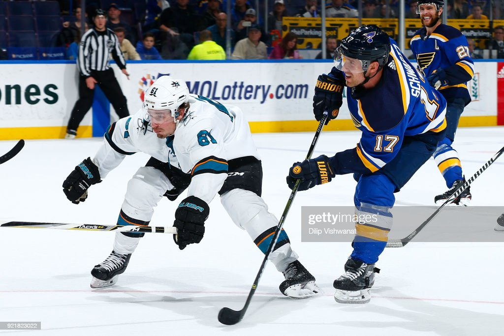 Jaden Schwartz #17 of the St. Louis Blues shoots the puck against Justin Braun #61 of the San Jose Sharks at Scottrade Center on February 20, 2018 in St. Louis, Missouri.