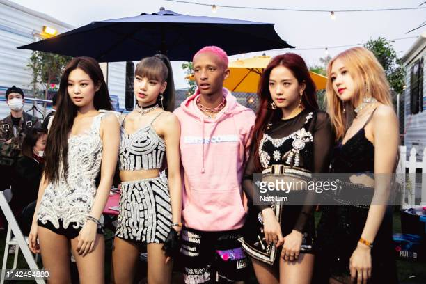 Jaden Smith and Jennie Lisa Jisoo and Rose of BLACKPINK are seen backstage during Weekend 1 Day 1 of the 2019 Coachella Valley Music and Arts...