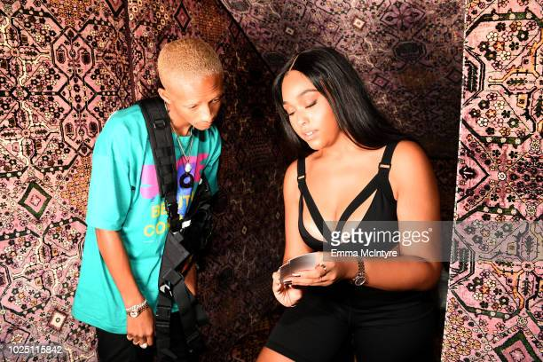 Jaden Smith and Jordyn Woods attend the launch event of the activewear label SECNDNTURE by Jordyn Woods at a private residence on August 29 2018 in...
