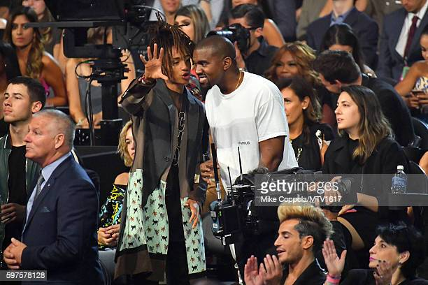 Jaden Smith and Kanye West attend the 2016 MTV Video Music Awards at Madison Square Garden on August 28, 2016 in New York City.