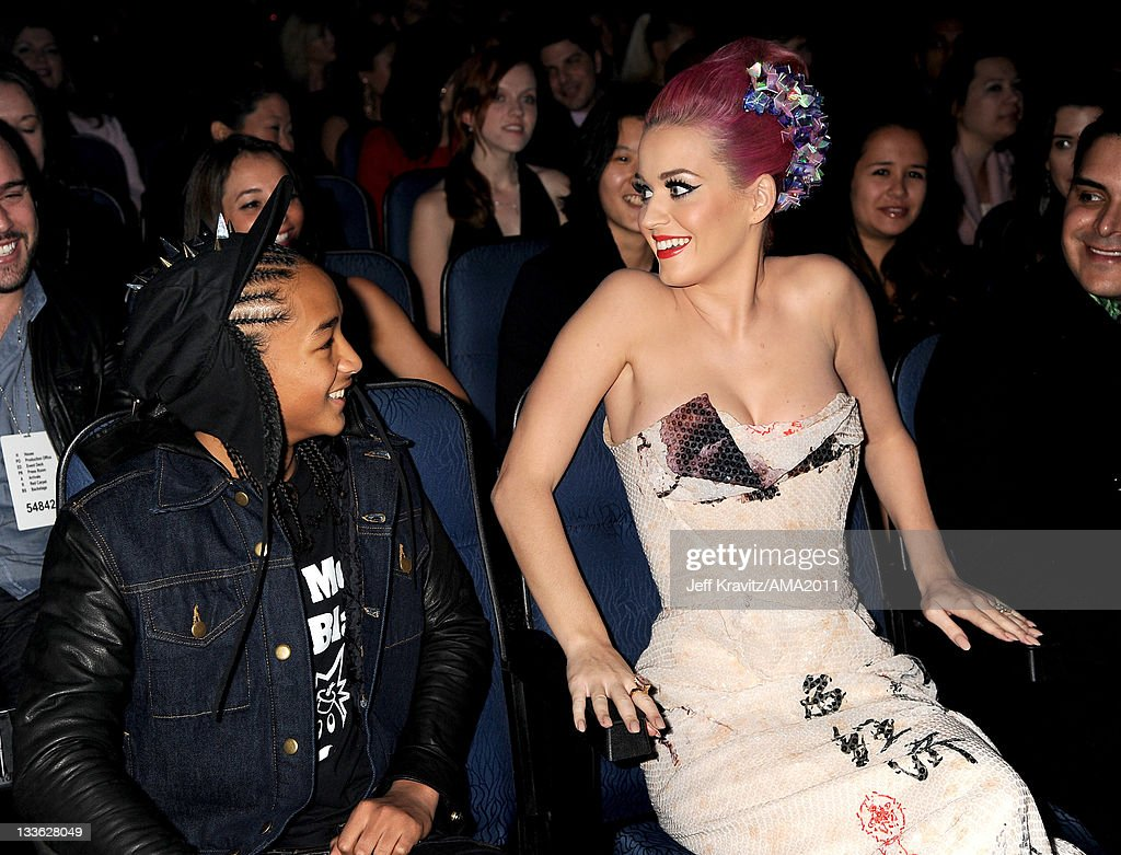 Jaden Smith and Katy Perry in the audience at the 2011 American Music Awards at the Nokia Theatre L.A. LIVE on November 20, 2011 in Los Angeles, California.