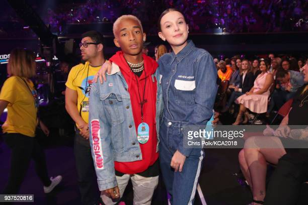 Jaden Smith and Millie Bobby Brown onstage at Nickelodeon's 2018 Kids' Choice Awards at The Forum on March 24 2018 in Inglewood California