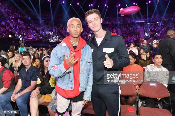 Jaden Smith and Patrick Schwarzenegger onstage at Nickelodeon's 2018 Kids' Choice Awards at The Forum on March 24 2018 in Inglewood California
