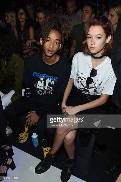 Jaden Smith and Sarah Snyder attend the Hood By Air fashion show during New York Fashion Week The Shows at The Arc Skylight at Moynihan Station on...