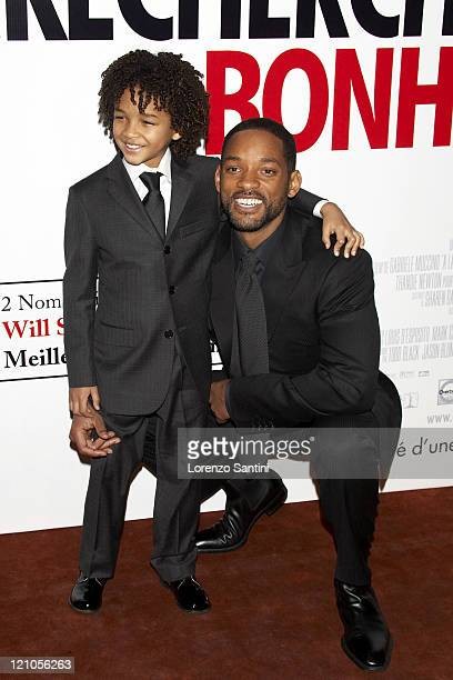 Jaden Smith and Will Smith during 'The Pursuit of Happyness' Paris Premiere at UGC Normandie in Paris France