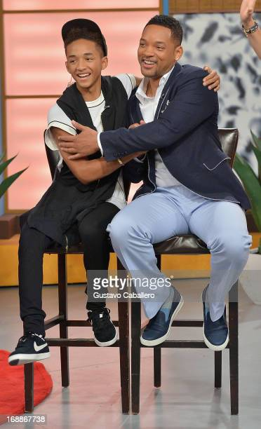 Jaden Smith and Will Smith visit Univisions Despierta America to promote their film After Earth at Univision Headquarters on May 16 2013 in Miami...