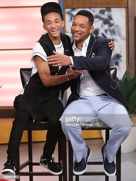 Jaden Smith and Will Smith visit Univision's Despierta America to promote their film After Earth at Univision Headquarters on May 16 2013 in Miami...