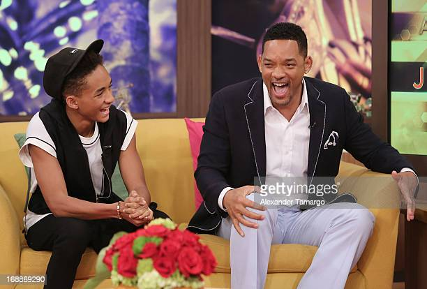 Jaden Smith and Will Smith visit Univision's Despierta America to promote their film 'After Earth' at Univision Headquarters on May 16 2013 in Miami...