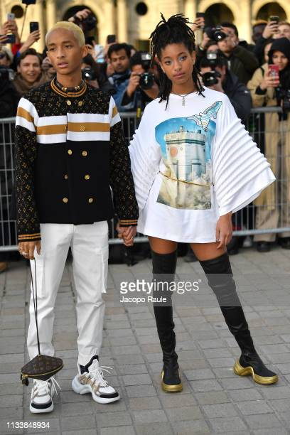 Jaden Smith and Willow Smith attend the Louis Vuitton show as part of the Paris Fashion Week Womenswear Fall/Winter 2019/2020 on March 05, 2019 in...