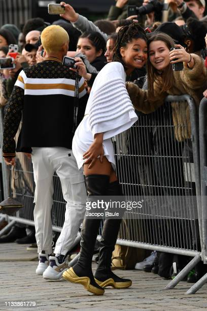Jaden Smith and Willow Smith attend the Louis Vuitton show as part of the Paris Fashion Week Womenswear Fall/Winter 2019/2020 on March 05 2019 in...