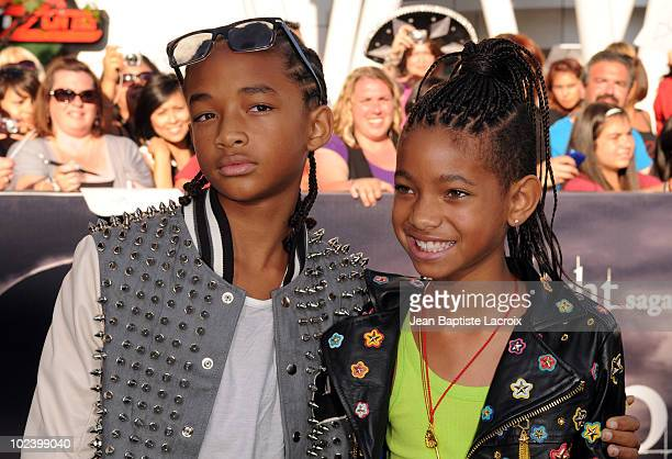 Jaden Smith and Willow Smith attend The Twilight Saga Eclipse Los Angeles Premiere at Nokia Theatre LA Live on June 24 2010 in Los Angeles California