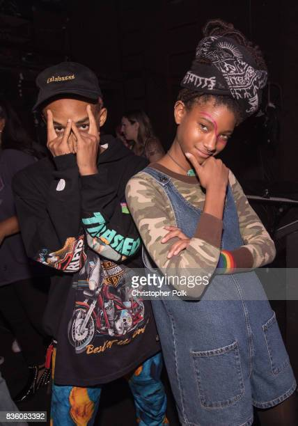 Jaden Smith and Willow Smith backstage at The Fonda Theatre on August 20 2017 in Los Angeles California