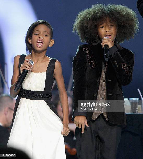 Jaden Smith and Willow Smith sing on stage during the Nobel Peace Prize Concert at Oslo Spektrum on December 11 2009 in Oslo Norway Tonight's Nobel...