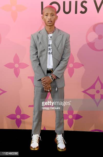 Jaden Smith arrives at Louis Vuitton Unveils Louis Vuitton X: An Immersive Journey at Louis Vuitton X on June 27, 2019 in Beverly Hills, California.