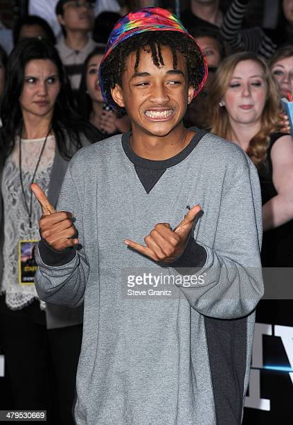 Jaden Smith arrives at the Divergent Los Angeles Premiere at Regency Bruin Theatre on March 18 2014 in Los Angeles California