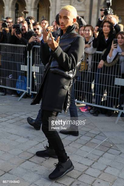 Jaden Smith arrives at the Louis Vuitton show as part of the Paris Fashion Week Womenswear Spring/Summer 2018 on October 3 2017 in Paris France