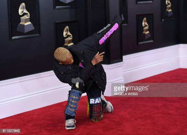 Jaden Smith arrives for the 60th Grammy Awards on January 28 in New York / AFP PHOTO / ANGELA WEISS
