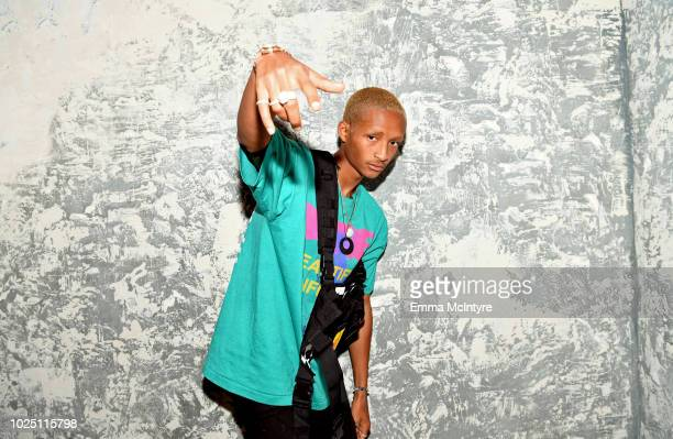 Jaden Smith attends the launch event of the activewear label SECNDNTURE by Jordyn Woods at a private residence on August 29, 2018 in West Hollywood,...