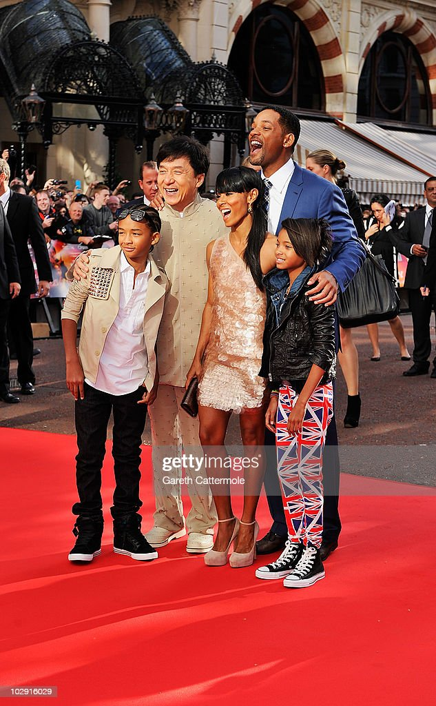 Jaden Smith, Jackie Chan, Jada Pinkett Smith, Will Smith and Willow Smith attend the UK Film Premiere of The Karate Kid at Odeon Leicester Square on July 15, 2010 in London, England.
