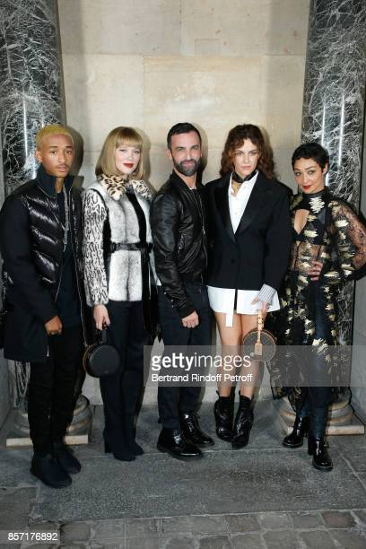 Jaden Smith Lea Seydoux stylist Nicolas Ghesquiere Riley Keough and Ruth Negga pose after the Louis Vuitton show as part of the Paris Fashion Week...