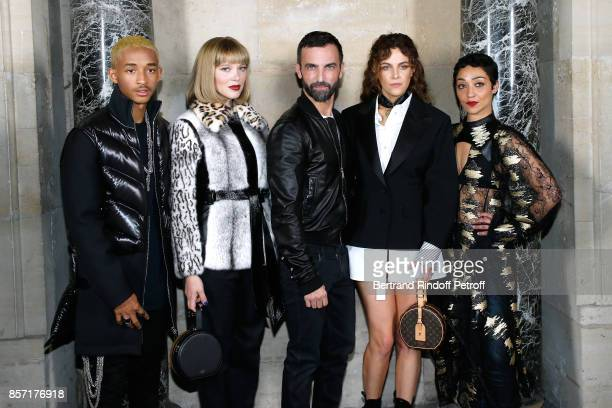 Jaden Smith, Lea Seydoux, stylist Nicolas Ghesquiere, Riley Keough and Ruth Negga pose after the Louis Vuitton show as part of the Paris Fashion Week...