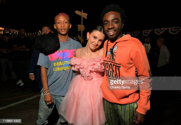 """Jaden Smith, Millie Bobby Brown and Caleb McLaughlin attend the """"Stranger Things"""" Season 3 World Premiere on June 28, 2019 in Santa Monica,..."""