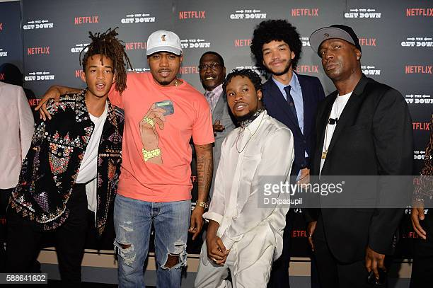 Jaden Smith Nas Shameik Moore Justice Smith and Grandmaster Flash attend The Get Down New York premiere at Lehman Center For The Performing Arts on...