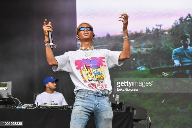Jaden Smith performs during 2018 Lollapalooza at Grant Park on August 2 2018 in Chicago Illinois