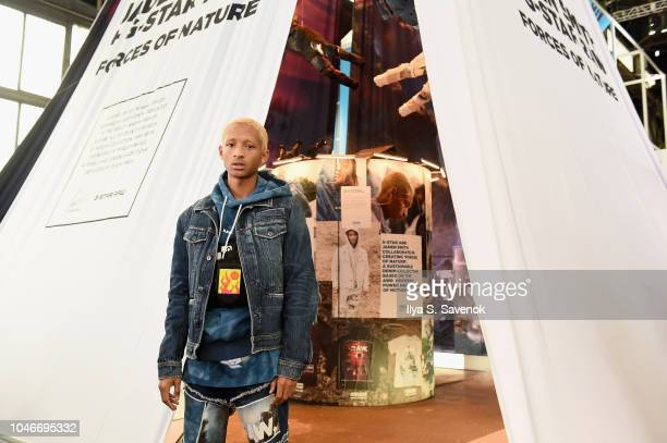 Jaden Smith poses during Jaden Smith GStar RAW Forces of Nature collection reveal at Hypefest on October 6 2018 in Brooklyn New York