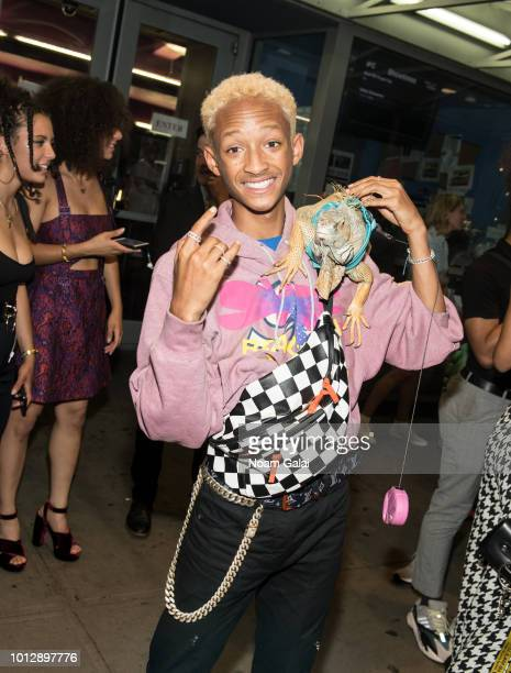 Jaden Smith poses with an Iguana at the 'Skate Kitchen' New York premiere at IFC Center on August 7 2018 in New York City