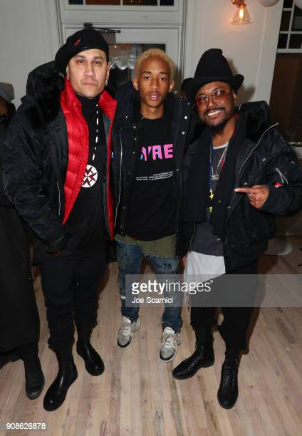 Jaden Smith poses with Taboo and apldeap of Black Eyed Peas during Skate Kitchen at DIRECTV Lodge presented by ATT during Sundance Film Festival 2018...