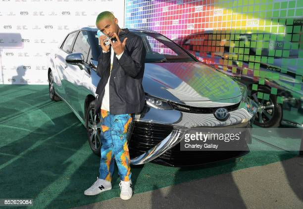 Jaden Smith poses with the Toyora Mirai the zero emissions car during the 2017 EMA Awards Presented by Toyota on September 23 2017 in Santa Monica...