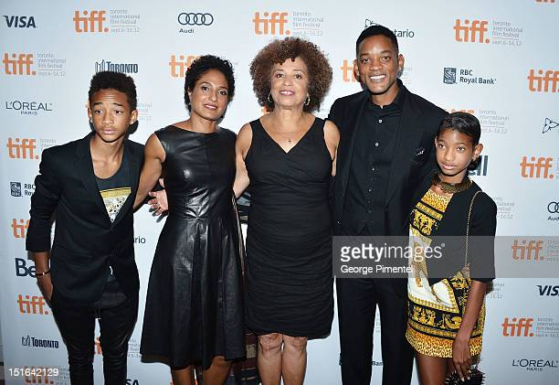 Jaden Smith Shola Lynch Angela Davis Will Smith and Willow Smith attend the 'Free Angela All Political Prisoners' premiere during the 2012 Toronto...
